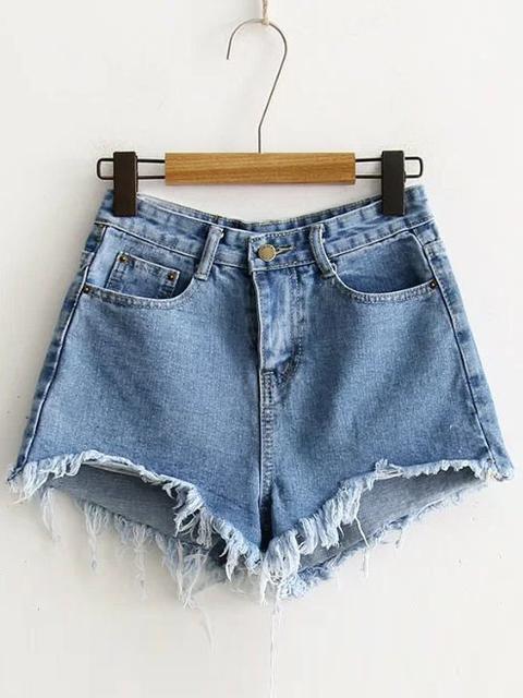 Shorts Deshilachados En Denim - Azul