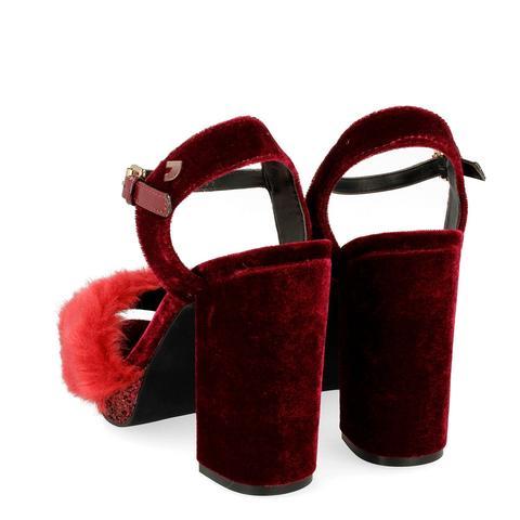 Tercipelo Burdeos Detalles Pelo En Sandalias De Vestir Y Con XPwkiTOZu