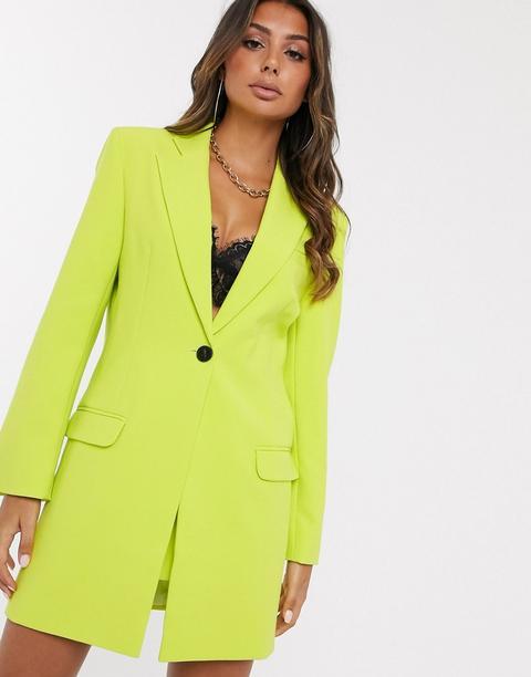 Americana De Traje Larga En Verde Amarillento De Asos Design-amarillo de ASOS en 21 Buttons