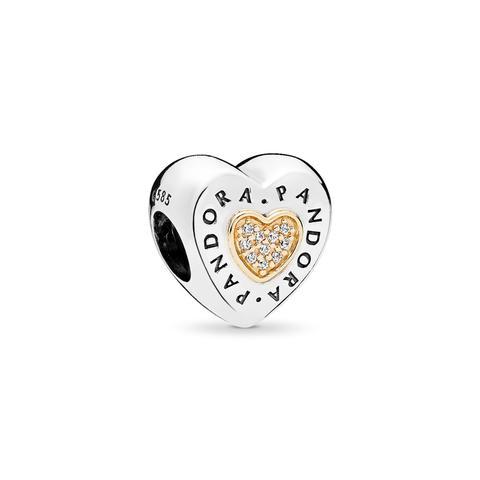 Charm En Plata De Ley Y Oro Corazón Logo Pandora de Pandora en 21 Buttons