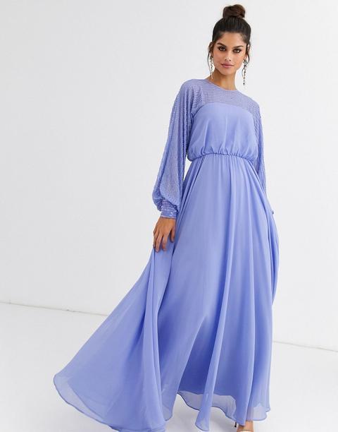 Vestido Largo Con Adorno De Canesú Lineal De Asos Design-multicolor de ASOS en 21 Buttons