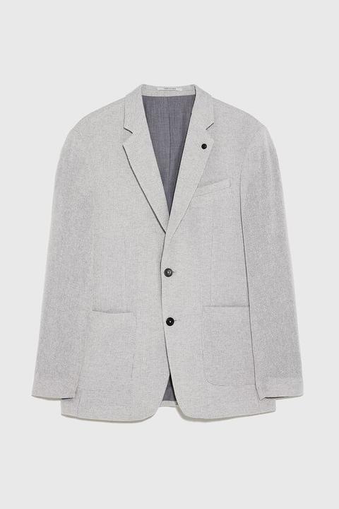 Blazer Struttura Bicolore de Zara en 21 Buttons