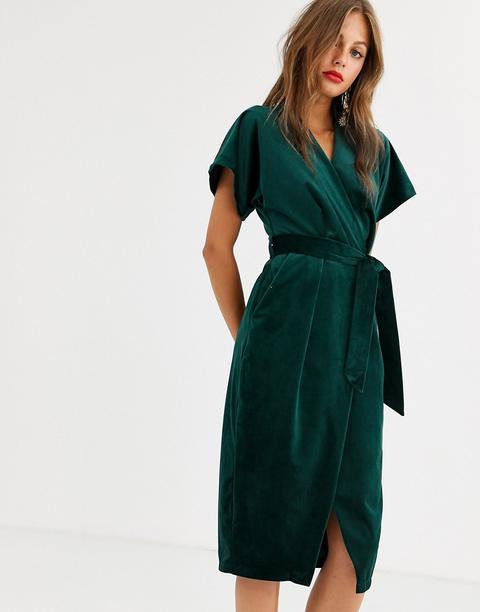 Vestido Midi Cruzado Anudado En Terciopelo Verde Esmeralda De Closet London de ASOS en 21 Buttons