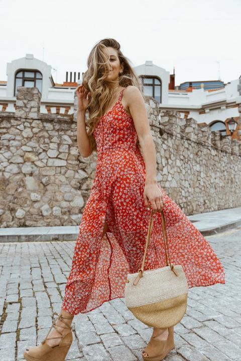 Vestido Positano Rojo de Poète en 21 Buttons