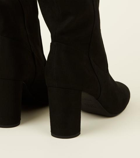 Black Suedette Block Heel Knee High