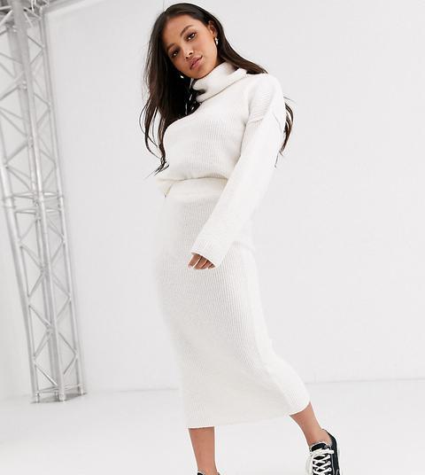 Asos Design Petite Chunky Ribbed Midi Skirt In Recycled Blend-cream