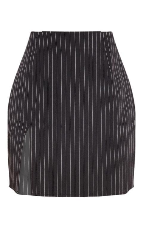 Mini-jupe À Rayures Noire Fendue, Noir