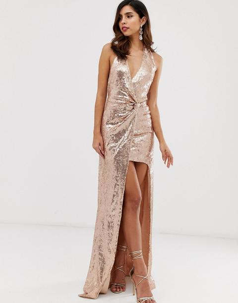 Vestido Largo Con Lentejuelas Por Toda La Prenda Y Abertura Extrema De City Goddess de ASOS en 21 Buttons