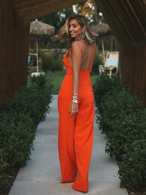 Orange Straps Jumpsuit