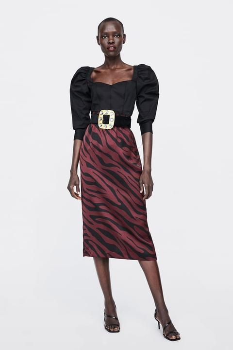 Calidad superior venta más barata Estados Unidos Falda Tubo Estampado Animal de Zara en 21 Buttons