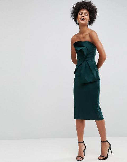 Vestido Midi Palabra De Honor De Neopreno Con Lazo En La Parte Delantera De Asos