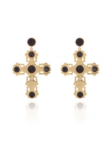código promocional 02518 64475 Pendientes Lavani Cross Negro from Lavani Jewels on 21 Buttons