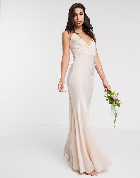 Vestido Largo De Tirantes De Dama De Honor En Satén Lavado De Asos Design-beis de ASOS en 21 Buttons