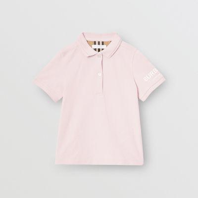 Polo En Piqué De Algodón Con Logotipo Estampado (rosa Hielo) | Burberry de BURBERRY en 21 Buttons