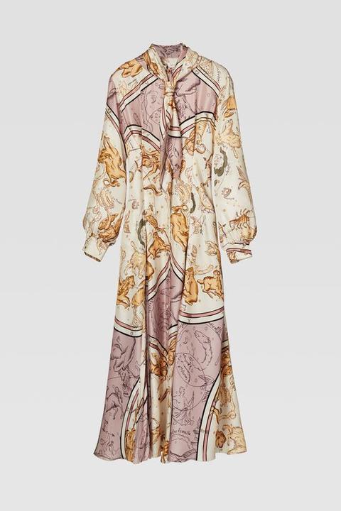Vestido Estampado Plisado de Zara en 21 Buttons