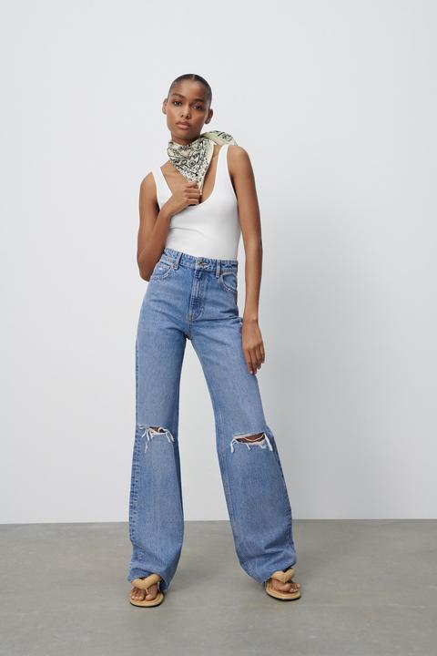 Jeans Wide Leg Full Length Rotos