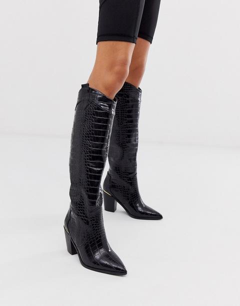 Botas De Caña Alta Estilo Western Sin Cierres En Diseño Negro Cocodrilo De Asos Design