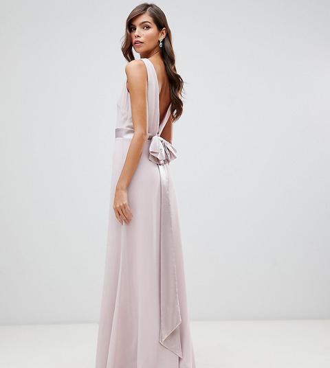 Vestido Largo De Dama De Honor De Satén Con Lazo En La Espalda En Rosa Exclusivo De Tfnc de ASOS en 21 Buttons