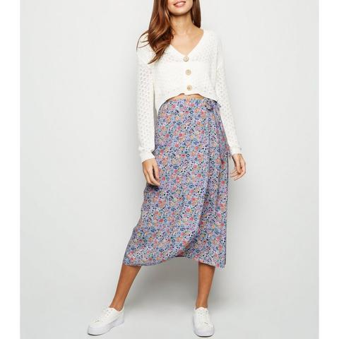Jupe Mi-longue Violette À Imprimé Floral