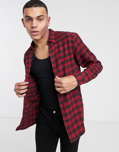 Allsaints Chetco Checked Shirt In Red/black