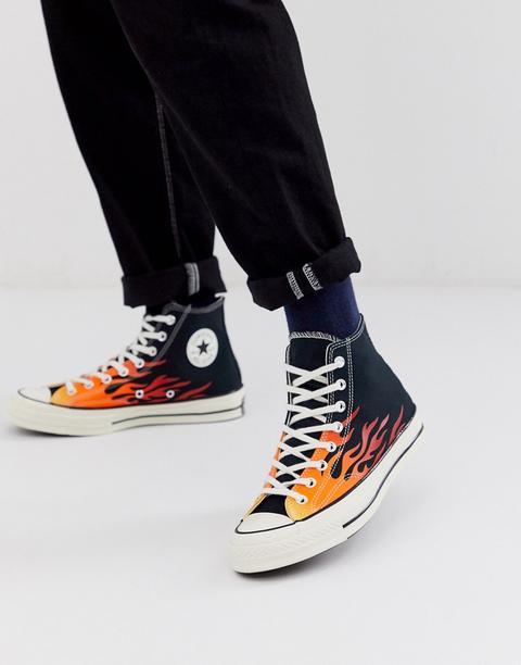 Zapatillas Abotinadas Negras Con Estampado De Llamas Chuck 70 Archive De Converse de ASOS en 21 Buttons