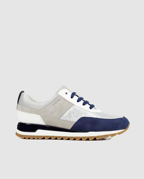 fábrica original de costura caliente el precio más bajo Geox - Zapatillas De Piel De Mujer Tabelya De Color Azul Con ...