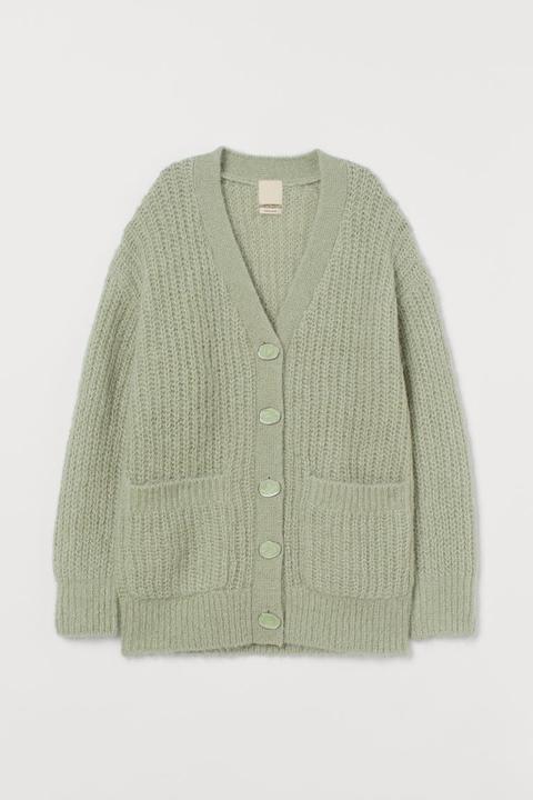 Cárdigan En Mezcla De Alpaca - Verde de H&M en 21 Buttons