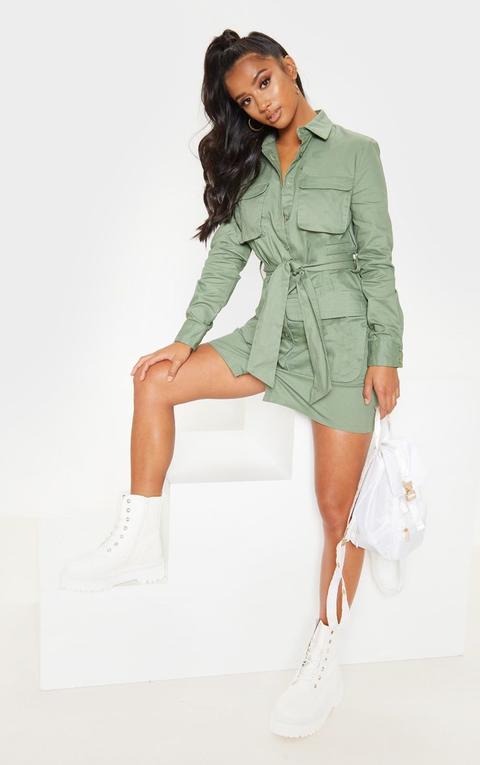 Petite Olive Khaki Utility Tie Waist Shirt Dress