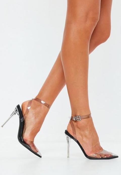 Black Clear Court Shoe Heels, Black