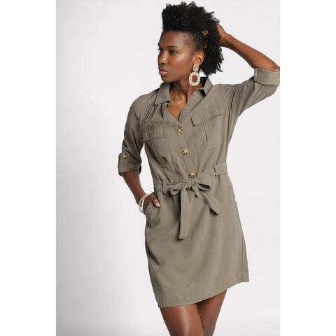Robe Fluide Boutonnee Vert Kaki Femme From Cache Cache On 21 Buttons