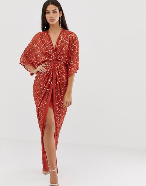 Vestido Largo Estilo Kimono Con Nudo Delantero Y Detalle De Lentejuelas De Asos Design-marrón