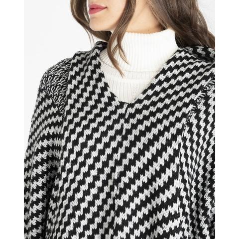 Jersey Punto Tricot Blanco/negro