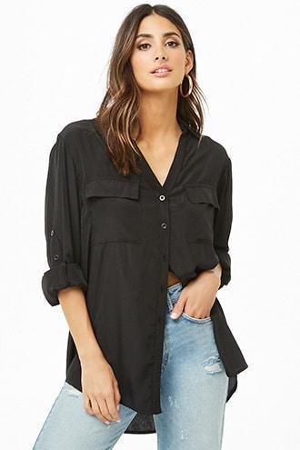Forever 21 Button-down Pocket Shirt Black