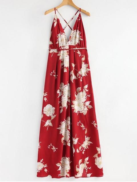 Vestido Maxi Cruzado Floral De Las Hendiduras Red de Zaful en 21 Buttons