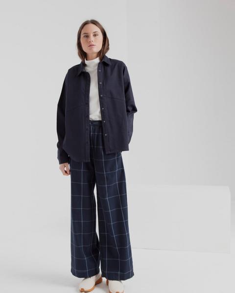 Pantalón Mamita Blue Checks de Thinking Mu en 21 Buttons