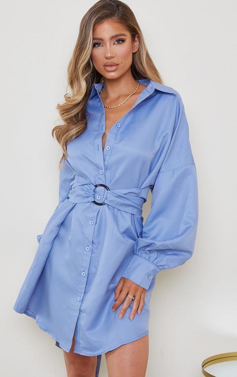 Robe Chemise Bleu Minéral À Ceinture Nouée, Mineral Blue