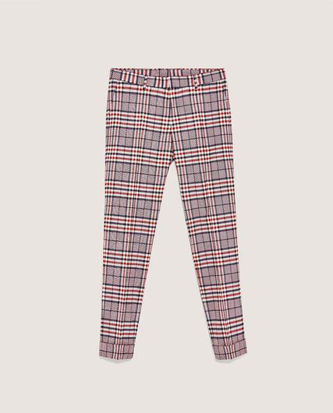 Pantaloni Abito A Quadri Tartan