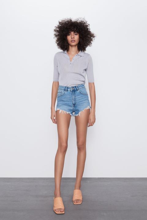 Hi-rise Denim Shorts Trf