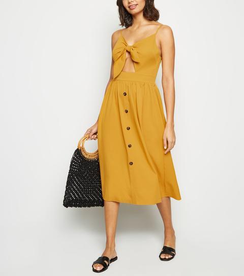 Cameo Rose Mustard Button Midi Dress New Look