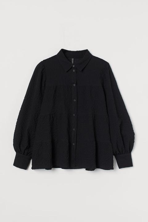 Camisa De Crepé - Negro
