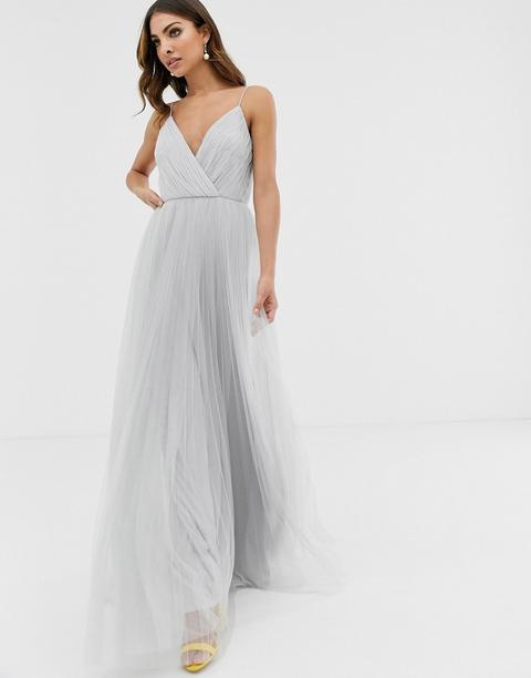 Vestido Largo De Tul Con Plisado Y Tirantes De Asos Design-plateado