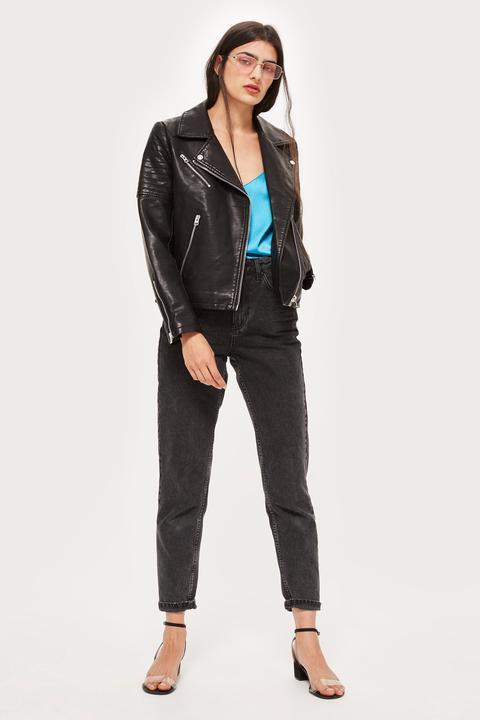 Womens Faux Leather Biker Jacket - Black, Black