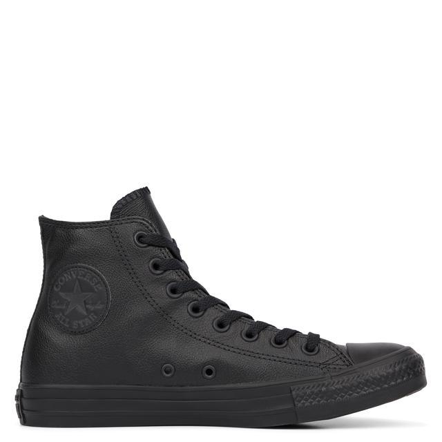 leather black chuck taylors