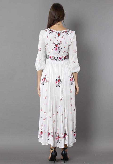Maravilloso Maxi Vestido Con Bordado Floral