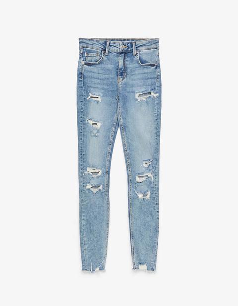 Jeans Skinny Low Waist Con Rotos