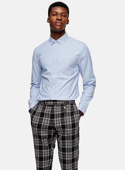 Mens Blue Stretch Skinny Oxford Shirt, Blue