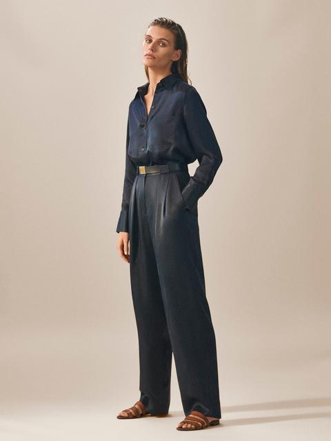 mejor fecha de lanzamiento despeje Pantalon À Pinces En Cupro Bleu Marine Large Limited Edition from Massimo  Dutti on 21 Buttons