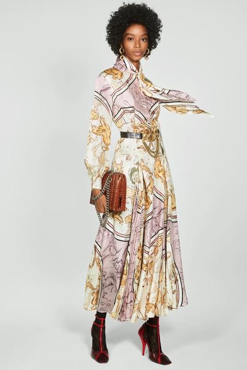 Vestido Estampado Plisado