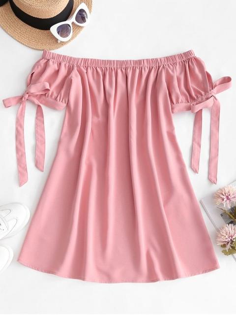 Zaful Off Mini Hombro Vestido Sólido Pink