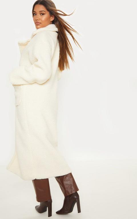Cream Maxi Borg Coat
